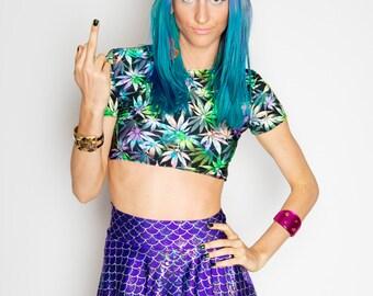Purple Mermaid Skater Skirt