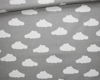 Cotton fabric printed 50 x 160 cm, white clouds on gray background