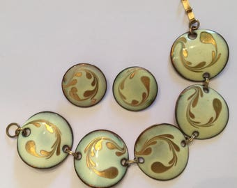 Vintage Large Yellow Disc Copper Enamel Link Bracelet and Clip On Earrings Jewelry Set