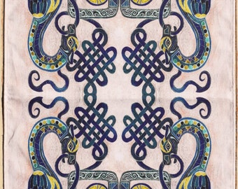 Celtic Dragon Tea towel