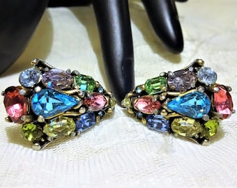 Beautiful Vintage Hollycraft 1953 Pastel Rhinestone Earrings (1953) Screwbacks