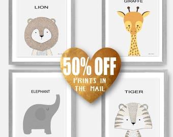 Safari Nursery Set, Baby Boy Art Set, Giraffe Print Art, Safari Nursery Art, Neutral Nursery Set, Zoo Nursery Set, Lion Nursery Set Elephant