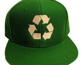 Recycle Six Panel Flat Bill Snapback Hat