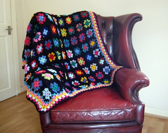 """Crochet Afghan Blanket Traditional Black Granny Squares 46"""" x 46"""" Made To Order"""