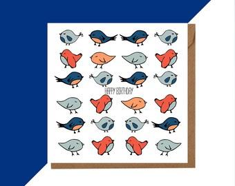Bird Birthday Card - Cute bird card - Bird Card - Bird Birthday cards - Bird Greeting card - Happy Birthday Bird - Little Bird card -  Bird