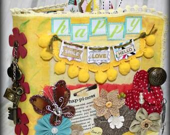 HAPPY Canvas Covered Chipboard  Maya Road 3 Ring Binder Scrapbook Scrapbooking Interactive Album