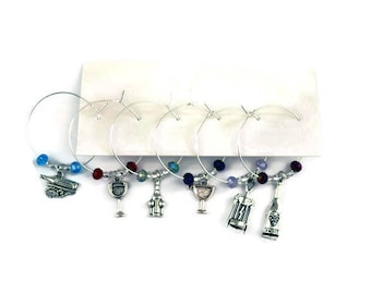 Wine Themed Wine Glass Charms