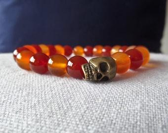 Carnelian beads and Skull bracelet, Skull bracelet, Carnelian bracelet, Gemstone stretch bracelet, stretch bracelet, gemstone bracelet
