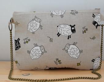 Sheeps bag,sheeps clutch,chain clutch, canvas bag,sheeps handbag,sheeps  tote,sheeps fabric,sheeps bag, kawaii bag, canvas clutch