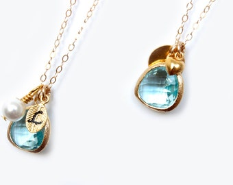 Aquamarine Necklace Aqua Initial Necklace Personalised Bridesmaids Gift Initial Necklace Blue Bridesmaids Necklace Initial Leaf