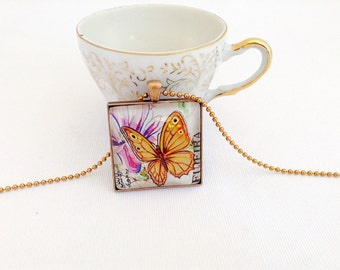 golden butterfly necklace, 1967 postage stamp, square butterfly pendant, gold butterfly stamp necklace