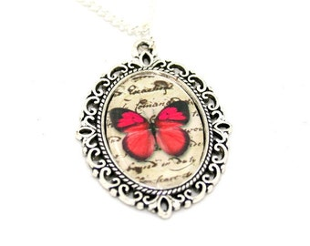 Red Butterfly Necklace, Cameo Necklace, Nature Illustration, Insect Pendant, Woodland, Animal Necklace