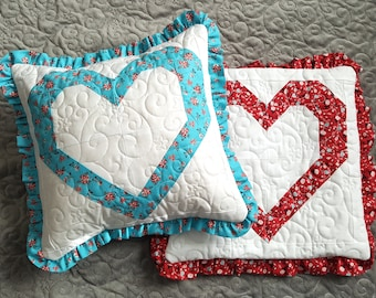 Heart Decorative Quilted Throw Pillow Cover Fits 14x14 pillow form