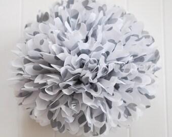 Metallic silver polka dot tissue pom pom .. New Years  / NYE .. Wedding Decoration