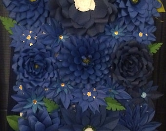 Backdrop of Blue Paper Flowers 6ft x 6ft