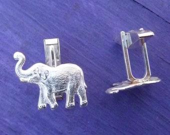 Sterling Silver Elephant Cuff Links