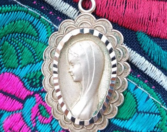 Large Our Lady Gold Plated Medal Vintage French Mid-Century Virgin Mary Medal #sophieladydeparis