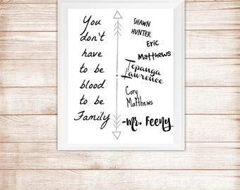 Boy Meets World - You don't have to be blood to be family. - Mr. Feeny - Cory, Topanga, Eric, Shawn -8x10 inch Printable Digital Art Quote