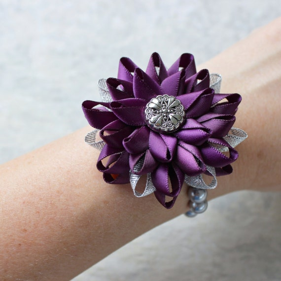 Eggplant Wedding Flowers: Items Similar To Wrist Corsage, Flower Wrist Corsage