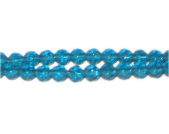 "6mm Aqua Faceted Round Glass Beads 13"" string"