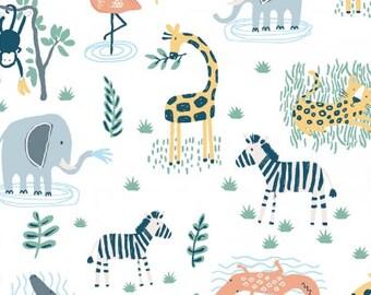Jungle Animals fabric Dear Stella Welcome to the Jungle cotton fabric