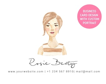 Personalized Business Card Design With Custom Illustrated Watercolor Portrait / Custom Made Calling Card / Personal Branding  (Digital File)