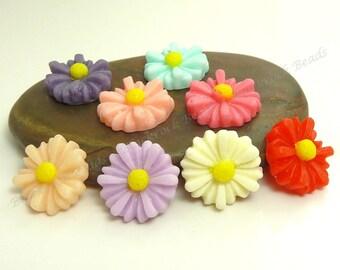 Flower Resin Cabochons - 8pcs - Assorted Colors, Flatback Cabs, Scrapbook Embellishments - 14mm - BP26