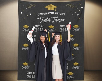 Custom Graduation Photo Booth Backdrop, Graduation Party Decorations 2018, Class of 2018 Banner, Graduation Party Ideas, Grad Party Decor,