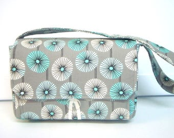 "Large 4""  Size Coupon Organizer Coupon Holder  Budget Organizer Holder Box  Attaches to Your Shopping Cart - Turquoise and Gray Dandelion"