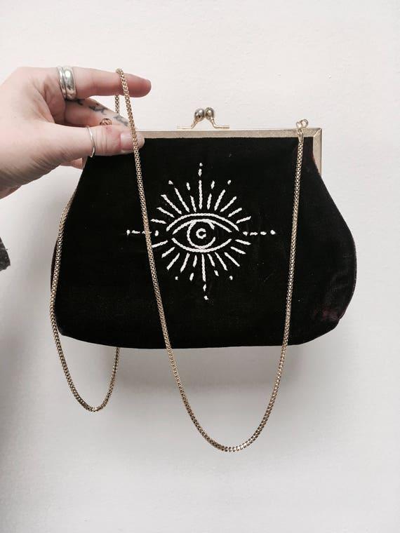 Embroidered Black Velvet Purse