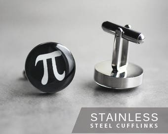 Pi Symbol Cufflinks, Surgical steel cufflinks, Math Cufflinks, Mens Cufflinks, gift for him, science cufflinks, wedding cufflinks