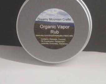Organic Vapor Rub, All Natural, Beeswax, Essential Oils, Coconut Oil, Natural