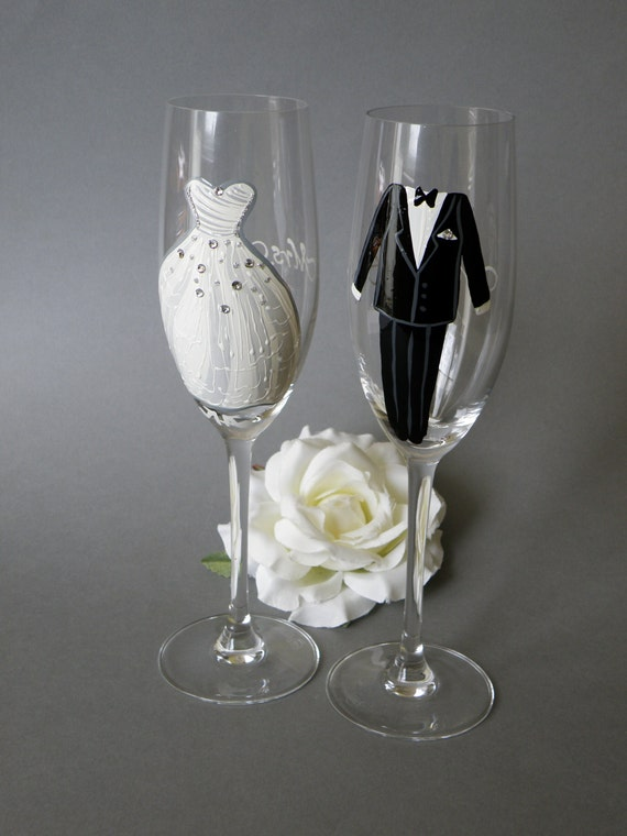 hand painted wedding toasting flutes set   personalized