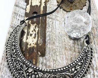 Sale: Metal floral bib collar