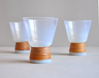 "RARE Holmegaard Kastrup - Jacob Bang - White ""Opaline"" Glass with Coiled Reed Cane - Set of 3"