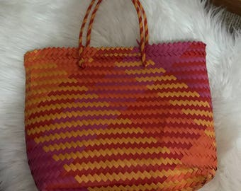 Colourful Straw Woven Market Bag