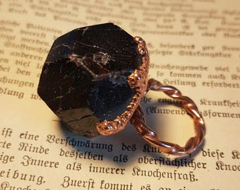 HEXADECIMAL Solid Copper And Garnet Ring