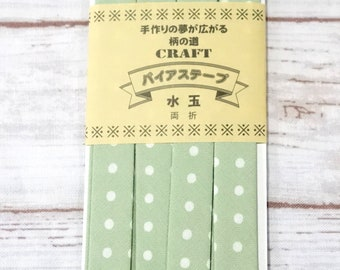 12 mm or 0.47 inch wide by 2 meters ( 72 inches ) long precut polka dot green bias  tapes