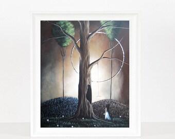 Home At Last - Moon Art - Inspirational - Art For Bedroom - Surreal Fantasy - Office Decor - Otehr Lands - Alice - LAST ONES - Wonderland