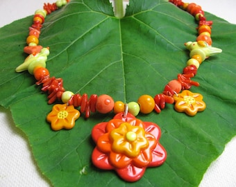 Sunny Orange Necklace Handmade Beads