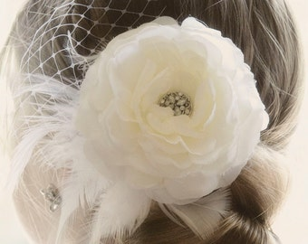 Ivory Bridal Hair Piece, Wedding Hair Flower Fascinator, Ivory Wedding Headpiece, Ivory Wedding Fascinator Vintage Wedding Hair