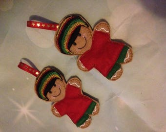 Jamaican Gingerbread Man~Rasta Man~Rastafarian~Reggae Gingerbread Man~Tree Decoration~Tree Ornament~Christmas Ornament~Hanging Decoration