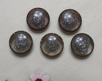 5 x Silver Sparkles Moulded Confetti-Style Buttons - 18mm