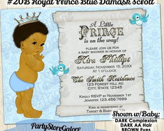 Boy baby shower invitations vintage royal prince african vintage royal prince baby boy shower invitations african american boys blue damask scroll custom digital invitation printable 020b filmwisefo