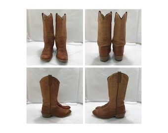 Vintage womens ACME chestnut brown lewther boots sz: 6 1/2