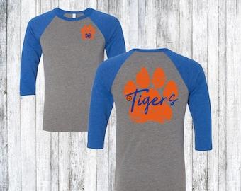 Tiger Football Shirt, Tiger Monogram Shirt, Personalized Tiger Shirt, Tiger Pride, Tiger Paw Football Shirt, Customize Colors, Sizes S- 4X