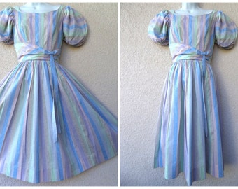 1950s PARTY DRESS. Full Skirt. Pastel Stripes. Pleated Dress. Lucy Dress. PinUp Dress. Rockabilly Dress. Swing Dance Dress. Candy Jones. S