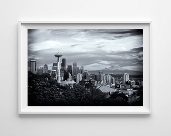 Seattle Skyline with Space Needle and Mt. Rainier from Kerry Park - Dramatic Black and White Cityscape - Large Wall Art Prints Available
