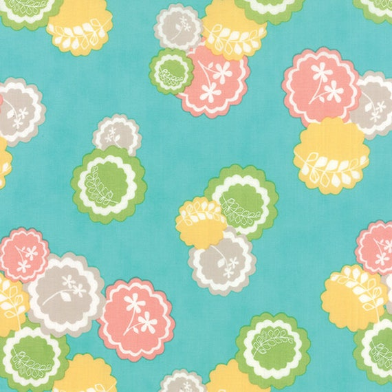 Corey Yoder Little Miss Shabby Aqua Prairie Doily Flower Quilt Fabric. Flowers Are Green, Yellow, Gray and Peach. 29001-18