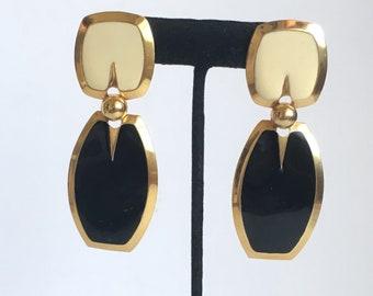 Ebony and ivory vintage enamel dangle earrings